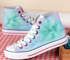 Women's Spring Autumn Hand-Painted Canvas Shoes Personality sea Female Male Graffiti Shoes