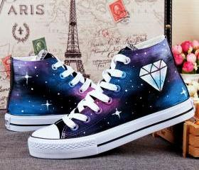 Hand-Painted Canvas Shoes Women's Spring Autumn Personality Diamond Star Female Male Graffiti Shoes