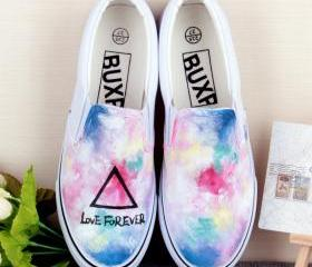 Love Forever Print Sneaker Contrast Color Slip-On Canvas Shoes